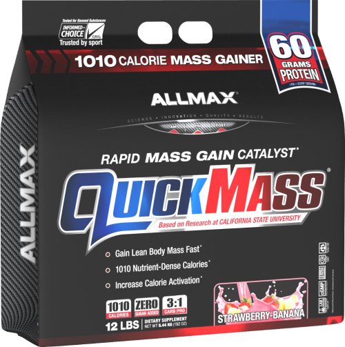 AllMax Nutrition QuickMass Loaded - 12lbs Strawberry Banana