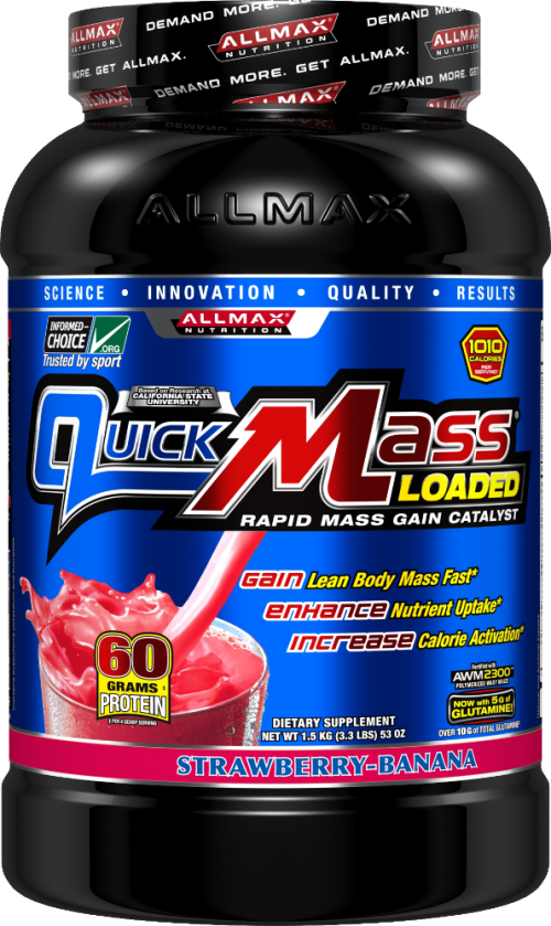 AllMax Nutrition QuickMass Loaded - 3.3lbs Strawberry Banana