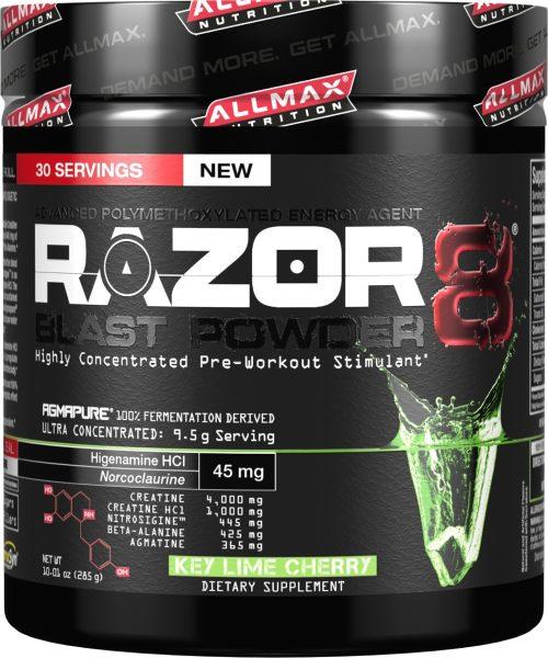 AllMax Nutrition Razor8 Blast Powder - 30 Servings Key Lime Cherry
