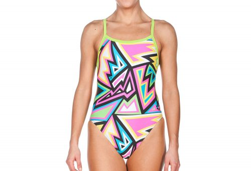Arena Tulum Challenge Back One Piece - Women's - black/leaf, 32