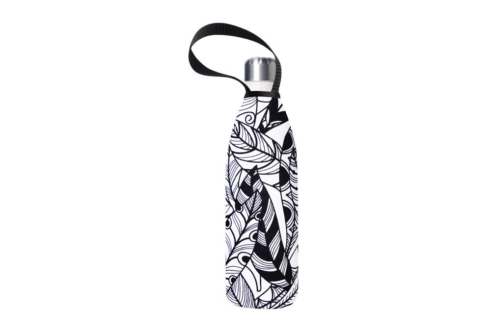 BBBYO Future Bottle+ Carry Cover - 750 ml - white feather print/whitesand, 750ml