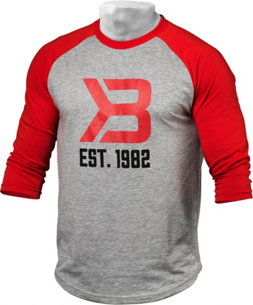 Better Bodies Mens Baseball Tee - Red/Greymelange Small