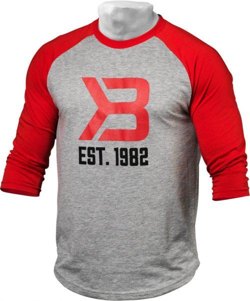 Better Bodies Mens Baseball Tee - Red/Greymelange XXL
