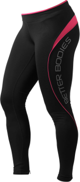 Better Bodies Women's Fitness Long Tights - Black/Pink Medium