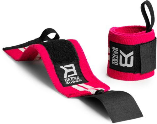 Better Bodies Womens Wrist Wraps - One Size Hot Pink/White