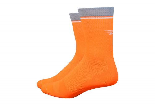 "DeFeet Levitator Lite 6"" Socks - hi vis orange, small"