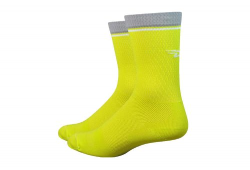 "DeFeet Levitator Lite 6"" Socks - sulphur yellow, medium"