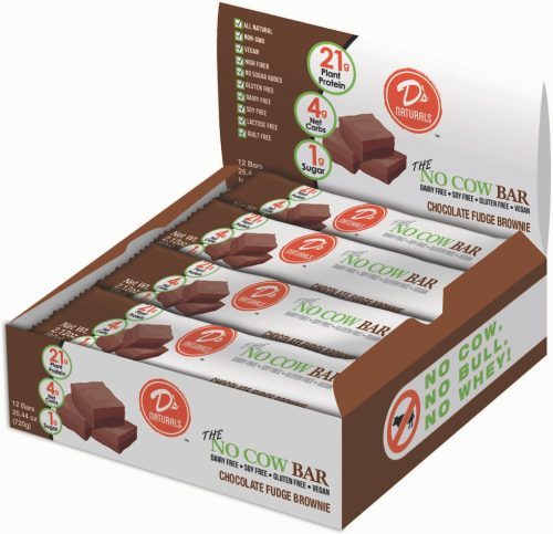 D's Naturals No Cow Bar - Box of 12 Chocolate Fudge Brownie