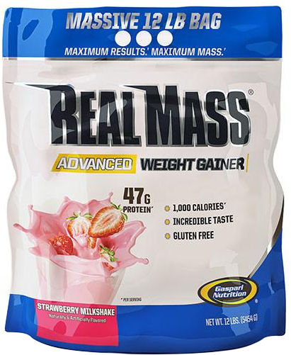 Gaspari Nutrition RealMass Advanced Weight Gainer - 12lbs Strawberry M