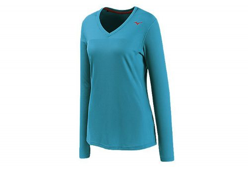 Mizuno Breath Thermo Body Mapping LS Tee - Women's - caribbean sea/shocking pink, xsmall