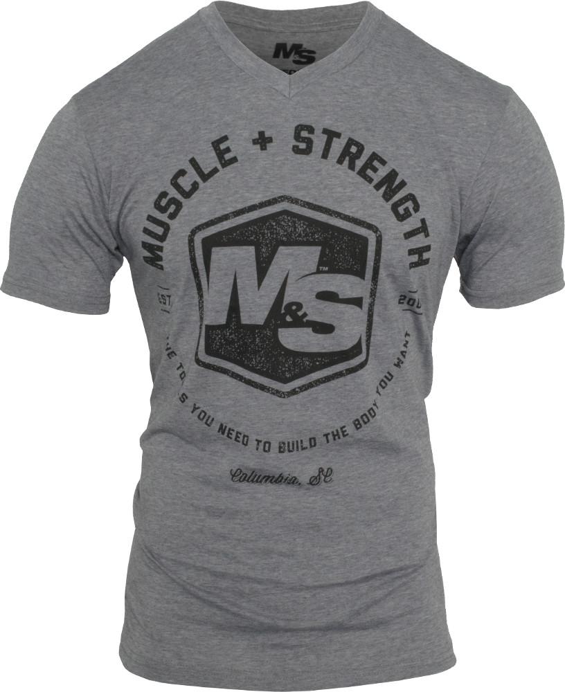 Muscle & Strength Hexagon V-Neck - Heather XXL