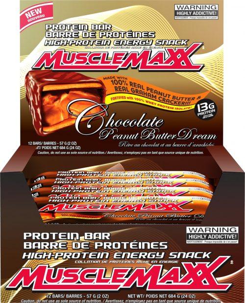 MuscleMaxx MuscleMaxx Bars - Box of 12 Chocolate Peanut Butter Dream