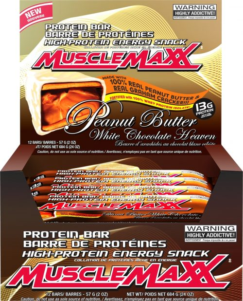 MuscleMaxx MuscleMaxx Bars - Box of 12 Peanut Butter White Chocolate H