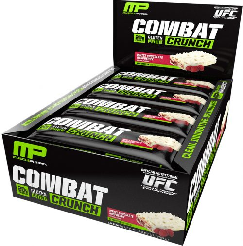 MusclePharm Combat Crunch Bars - Box of 12 White Chocolate Raspberry