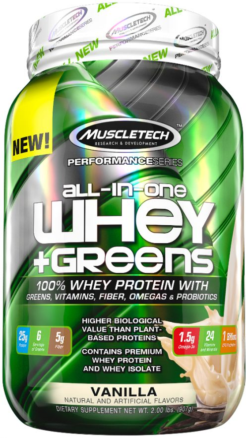 MuscleTech All-In-One Whey + Greens - 2lbs Vanilla