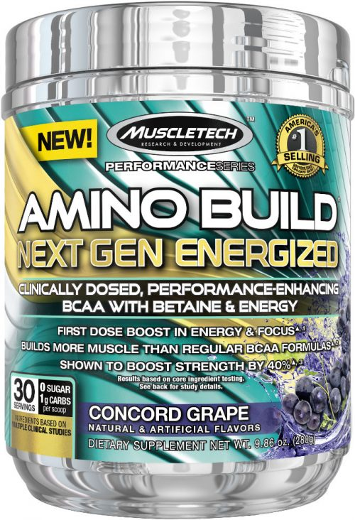 MuscleTech Amino Build Next Gen Energized - 30 Servings Concord Grape