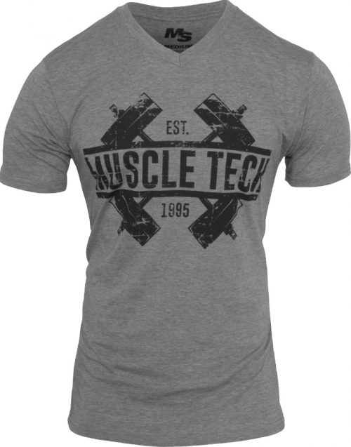 MuscleTech Dumbbell V-Neck - Heather Large