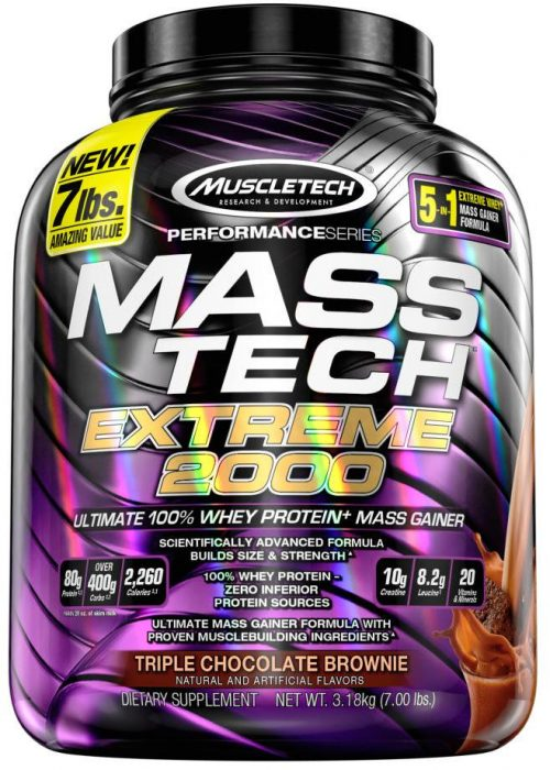 MuscleTech Mass-Tech Extreme 2000 - 7lbs Triple Chocolate Brownie
