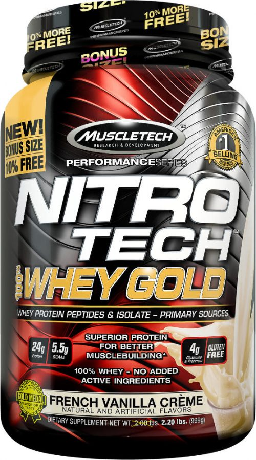 MuscleTech Nitro-Tech 100% Whey Gold - 2.2lbs French Vanilla Creme