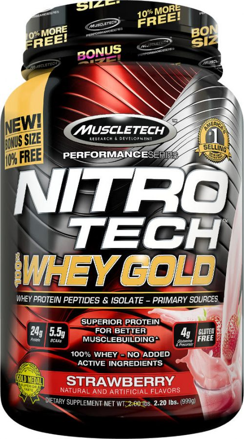 MuscleTech Nitro-Tech 100% Whey Gold - 2.2lbs Strawberry