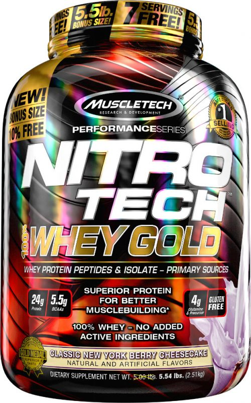 MuscleTech Nitro-Tech 100% Whey Gold - 5.5lbs Classic New York Berry C