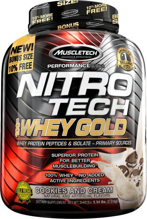 MuscleTech Nitro-Tech 100% Whey Gold - 5.5lbs Cookies & Cream
