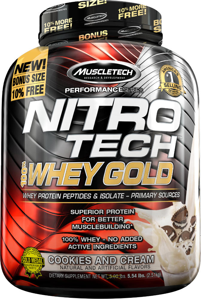 MuscleTech Nitro-Tech 100% Whey Gold - 5.5lbs Cookies & Cream