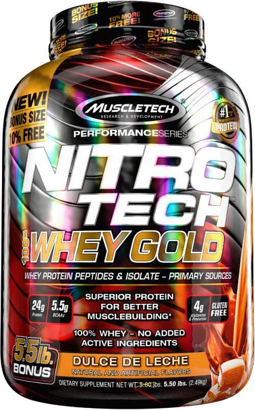 MuscleTech Nitro-Tech 100% Whey Gold - 5.5lbs Dulce de Leche