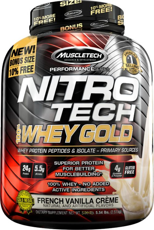 MuscleTech Nitro-Tech 100% Whey Gold - 5.5lbs French Vanilla La Creme