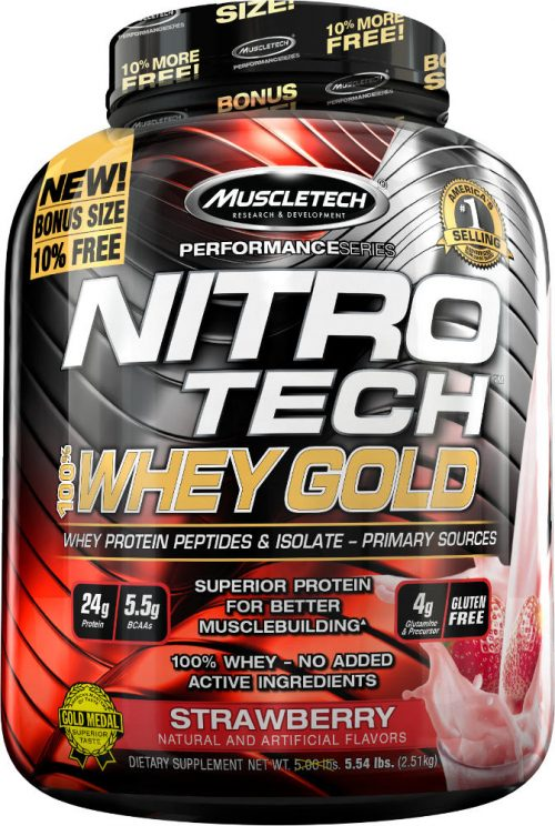 MuscleTech Nitro-Tech 100% Whey Gold - 5.5lbs Strawberry