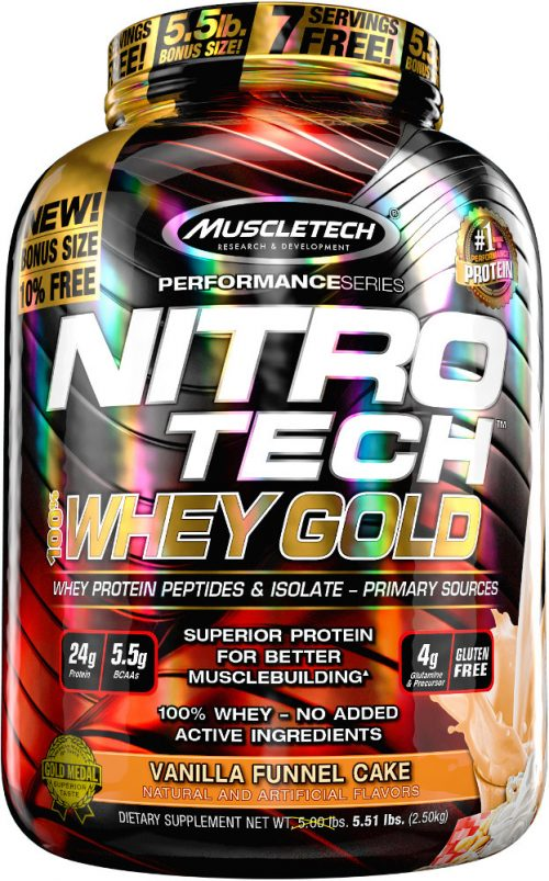 MuscleTech Nitro-Tech 100% Whey Gold - 5.5lbs Vanilla Funnel Cake
