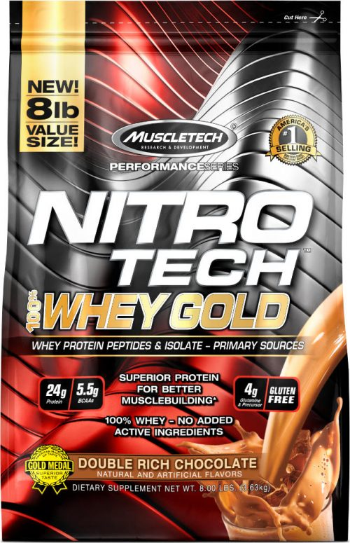 MuscleTech Nitro-Tech 100% Whey Gold - 8lbs Double Rich Chocolate