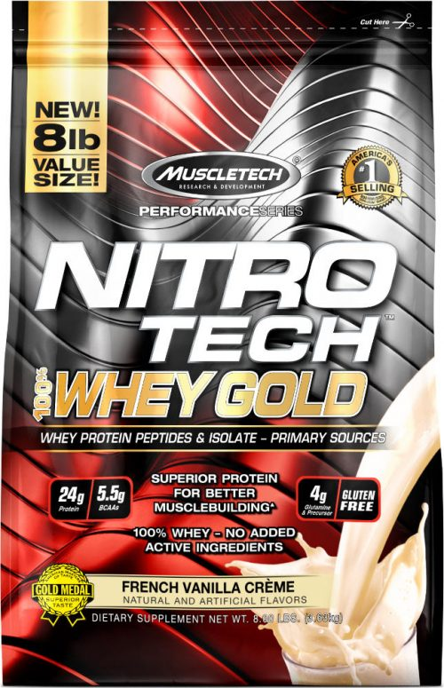 MuscleTech Nitro-Tech 100% Whey Gold - 8lbs French Vanilla La Creme