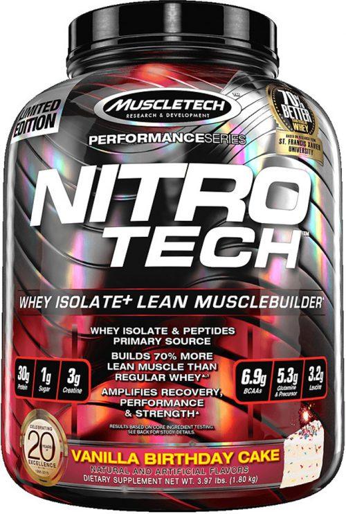 MuscleTech Nitro-Tech - 4lbs Vanilla Birthday Cake