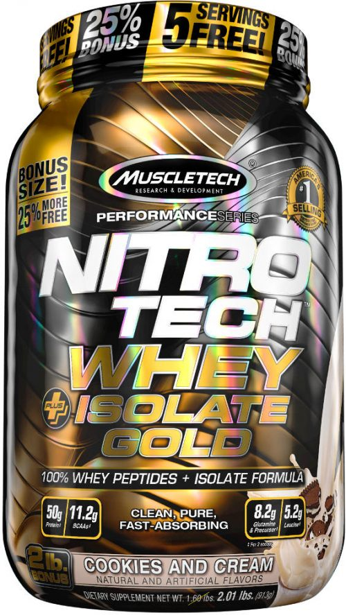 MuscleTech Nitro-Tech Whey Plus Isolate Gold - 2lbs Cookies & Cream