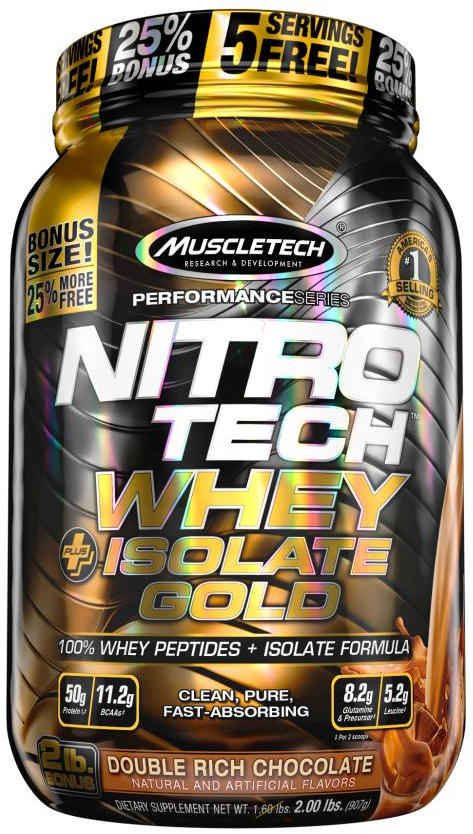 MuscleTech Nitro-Tech Whey Plus Isolate Gold - 2lbs Double Rich Chocol