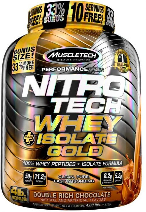 MuscleTech Nitro-Tech Whey Plus Isolate Gold - 4lbs Double Rich Chocol