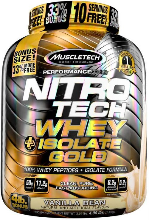 MuscleTech Nitro-Tech Whey Plus Isolate Gold - 4lbs Vanilla