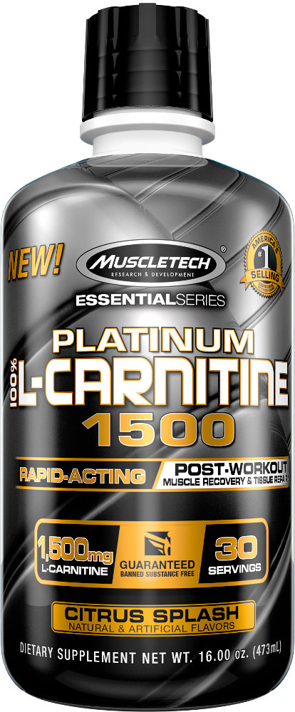 MuscleTech Platinum 100% L-Carnitine 1500 - 30 Servings Citrus Splash