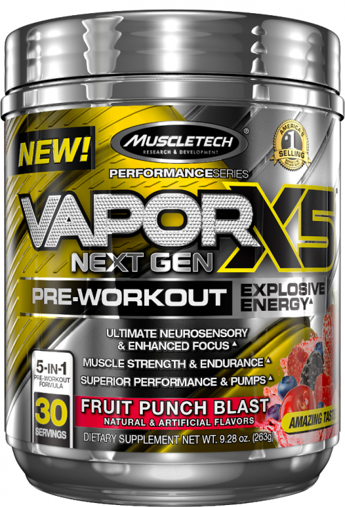 MuscleTech Vapor X5 Next Gen - 30 Servings Fruit Punch Blast