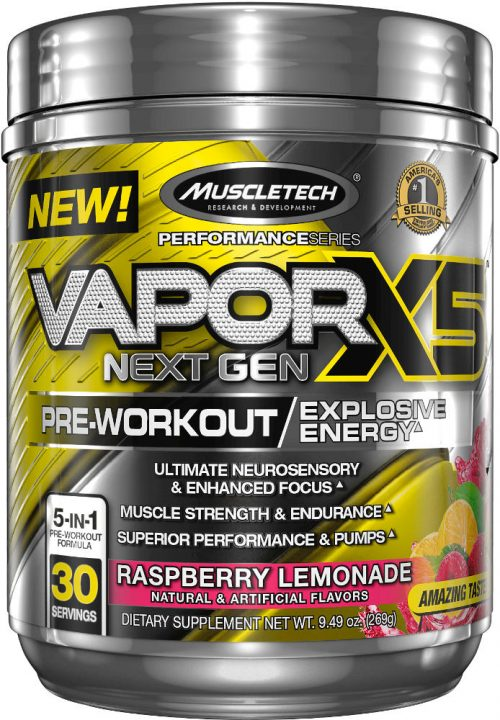 MuscleTech Vapor X5 Next Gen - M&S Exclusive 30 Servings Raspberry Lem