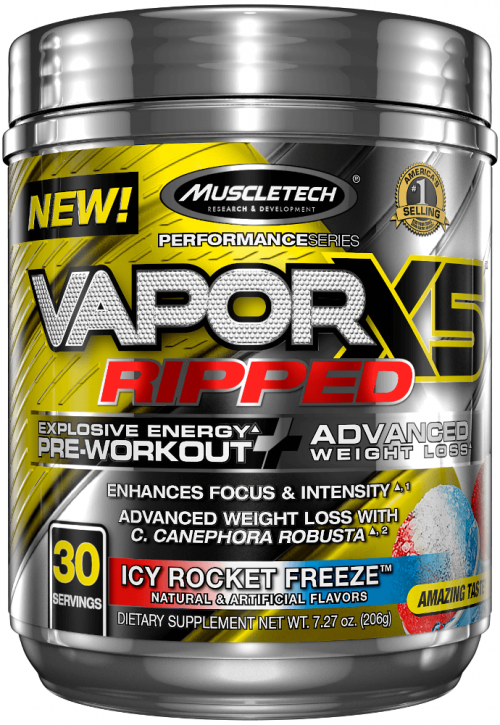 MuscleTech Vapor X5 Ripped - 30 Servings Icy Rocket Freeze