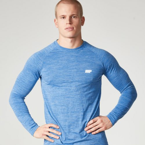 Myprotein Men's Performance Long Sleeve Top, Blue Marl, XXL