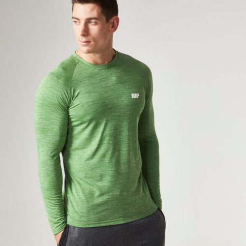 Myprotein Men's Performance Long Sleeve Top, Green Marl, XXL