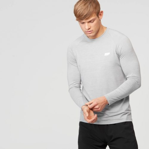Myprotein Men's Performance Long Sleeve Top, Grey Marl, XXL
