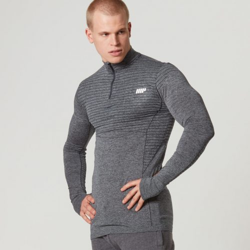 Myprotein Men's Seamless Long Sleeve 1/4 Zip Top - Black, S