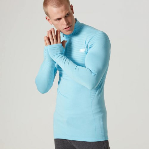 Myprotein Men's Seamless Long Sleeve 1/4 Zip Top - Light Blue, XXL