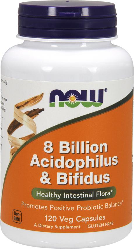NOW Foods 8 Billion Acidophilus & Bifidus - 120 VCapsules