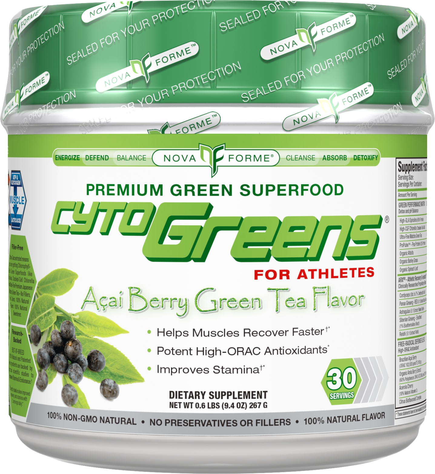 Novaforme CytoGreens - 60 Servings Berry Green Tea