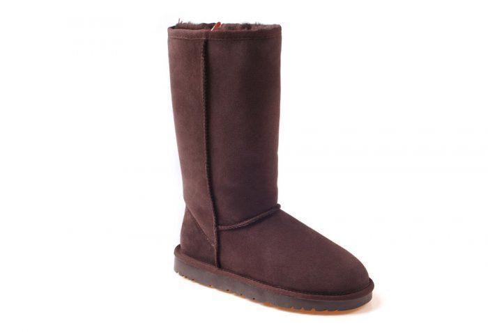 Ozwear Genuine Sheepskin Tall Boots - Women's - chocolate, 5.5-6